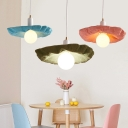 Scalloped 1 Light Hanging Lamp Modern Chic Blue/Green/Pink Metal Suspended Light for Children Room