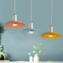 Shallow Round Pendant Lamp Colorful Modern Restaurant Hallway Metallic Single Light Lighting Fixture