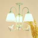 Retro Style Coolie Hanging Lamp with Angel Decoration Metal 3/5 Lights Chandelier Light in Green