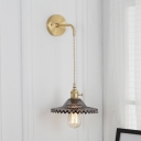 Modernism Scalloped Suspender Wall Light Gray Glass Shade Decorative Single Light Wall Lamp