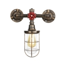 Bronze Finish Metal Cage Wall Lamp Vintage 1 Head Wall Mount Light for Warehouse