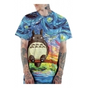 Stylish 3D Blue Oil Painting Totoro Print Short Sleeve Loose Casual Tee
