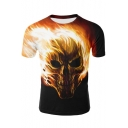 Awesome 3D Fire Skull Pattern Short Sleeve Men's Relaxed Black T-Shirt
