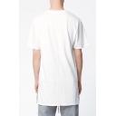 Men's Streetwear Plain Short Sleeve Split Side Oversized Long T-Shirt