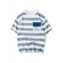 Funny Letter Number R66 NOT-FOUND Print Men's Loose Casual Striped T-Shirt