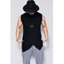 Men's Stylish Irregular Hem Sleeveless Black Plain Loose Fitted Tank Top