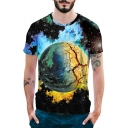 Men's Unique Cool 3D Planet Printed Round Neck Short Sleeve Loose Fit Black T-Shirt