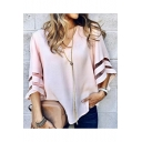 Women's Fashion Mesh-Panelled Sleeve V-Neck Loose Fit Chiffon Blouse