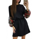 Black Floral Embroidered Puff Sleeve Retro Mini A-Line Dress for Girls