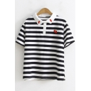 Red Pepper Embroidered Short Sleeve Classic Striped Polo Shirt for Juniors