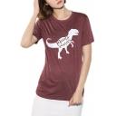 Cartoon Letter Dinosaur Printed Casual Loose Short Sleeve T-Shirt