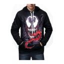 Black Cool 3D Venom Printed Long Sleeve Sport Fitness Drawstring Hoodie for Men