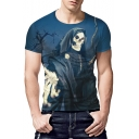 New Stylish 3D Skull Man Printed Short Sleeve Blue Slim Fit T-Shirt