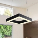 Square Body Metal Pendant Lights Simple Matte Black LED Hanging Lamp for Office Living Room 23.5