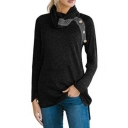 Tribal Print Button Embellished Cowl Neck Long Sleeve Loose Fitted T-Shirt