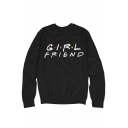 Chic Long Sleeve Round Neck Letter GIRL FRIEND Polka Dot Printed Black Cotton Sweatshirt