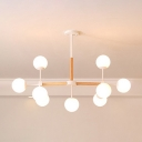 Cream Glass Ball Hanging Lamp Contemporary Multi Light Suspended Lamp for Living Room