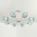 Blue Faded Glass Bubble Chandelier Modern Chic Multi Light Art Deco Hanging Lamp