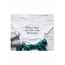 New Arrival Trendy Short Sleeve Round Neck Letter Printed White Tee