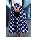 Retro Classic Polka Dot Printed Zip Back Midi A-Line Skirt