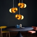 Adjustable Round LED Hanging Light Post Modern Aluminium and Acrylic Pendant Lamp in Gold Finish