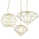 Diamond/Globe LED Suspension Light Post Modern Metal 1 Light Hanging Pendant Lights in Chrome/Gold