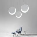 Acrylic Round LED Hanging Pendant Light Contemporary Single Head Pendant Lighting in White Finish