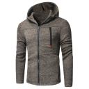 Men's Fashion Multi-Zip Embellished Long Sleeve Plain Zip Up Hoodie