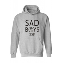 Hip Hop Style Letter SAD BOYS Cartoon Sad Face Printed Long Sleeve Relaxed Graphic Hoodie