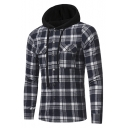 Men's Classic Check Pattern Long Sleeve Flap Pocket Chest Button Down Fitted Jacket Hoodie