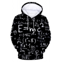 New Trendy Fashion Equation Pattern Black Loose Fitted Pullover Hoodie