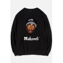 Hip Hop Style Letter MAKADELI Figure Pattern Crew Neck Long Sleeve Relaxed Fitted Cotton Sweatshirt