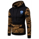 Letter ATHLETIC Logo Print Chest Camouflage Long Sleeve Fitted Pullover Hoodie for Men