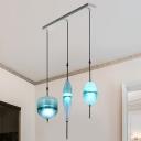 Aqua Linear Suspension Light Post Modern Faded Glass 3 Light Pendant Lamp for Bedroom