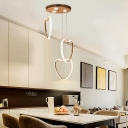 Loving Heart Pendant Lamp Modern Acrylic 3 Light Decorative Led Suspended Light in Gold