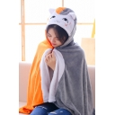 Funny Colorblock Cat Printed Plush Air Conditioning Blanket Gray Hooded Cape Coat