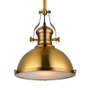 Antique Brass Nautical LED Pendant Light with Frosted Diffuser