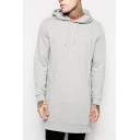 Simple Basic Solid Fashion Zip-Embellished Side Long Sleeve Longline Sports Hoodie