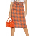 Classic Orange Plaid Printed Bow-Tied Waist Split Back Midi Shift Skirt for Women