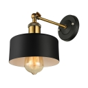 Drum Shade 1Lt Wall Sconce with Adjustable Arm Vintage Style Single Light Sconce Lighting in Black