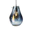 LED Suspension Light Designers Style Blue Glass 1 Light Art Deco Ceiling Pendant Lamp