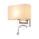 Contemporary Armed Wall Mount Light with Rectangle Fabric Shade 1 Light Wall Sconce in Chrome