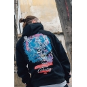 Guys Hip Hop Street Style Fashion Monster Skull Letter Print Loose Fit Pullover Hoodie