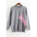 Long Sleeve Crew Neck Cartoon Fox Printed Loose Fit Pullover Sweater