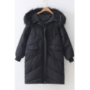 Simple Plain Basic Long Sleeve Fur Hooded Flap Pocket Front Long Thick Cotton Padded Coat