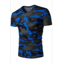 Hot Popular Camouflage Printed V-Neck Short Sleeve Slim Fit T-Shirt