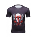 Men's Cool Wing Skull Printed Short Sleeve Round Neck Training Stretch Navy Slim Fitted T-Shirt