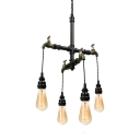 Industrial Tap Chandelier in Black Finish, 18'' Width 4 Lights