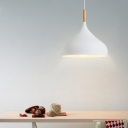 Minimalist Teardrop Hanging Lamp Wooden Single Light Ceiling Pendant Light in White