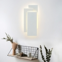 Metal Rectangle Lighting Fixture Simplicity Modern Wall Light Sconce in White for Bedroom